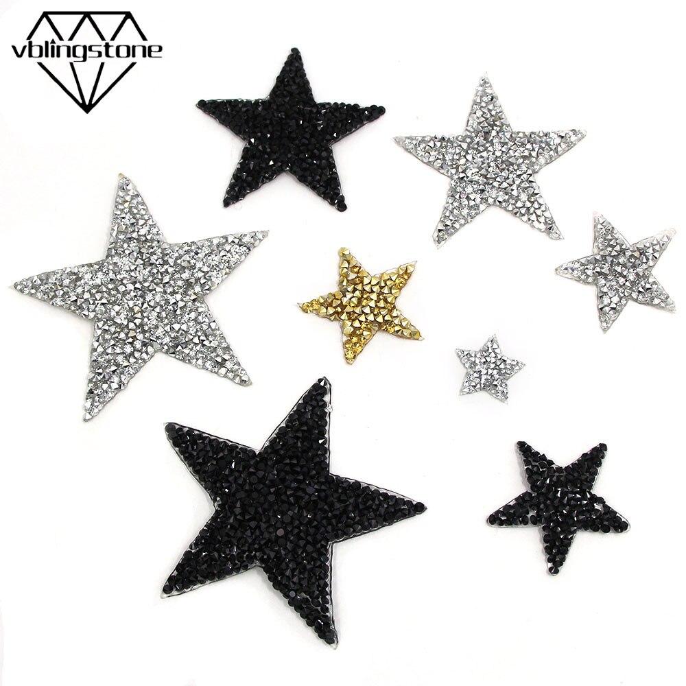 Étoiles strass patchs résine cristal Hotfix strass Applique 3D fer sur Patch pour vêtements transfert de chaleur bricolage sac pantalon chaussures
