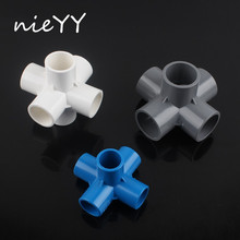 3D Three-dimensional 5 Way 6 20mm 25mm 32mm PVC Tube Adapter Water Pipe Connector Garden Irrigation Fitting DIY Shelf Joints