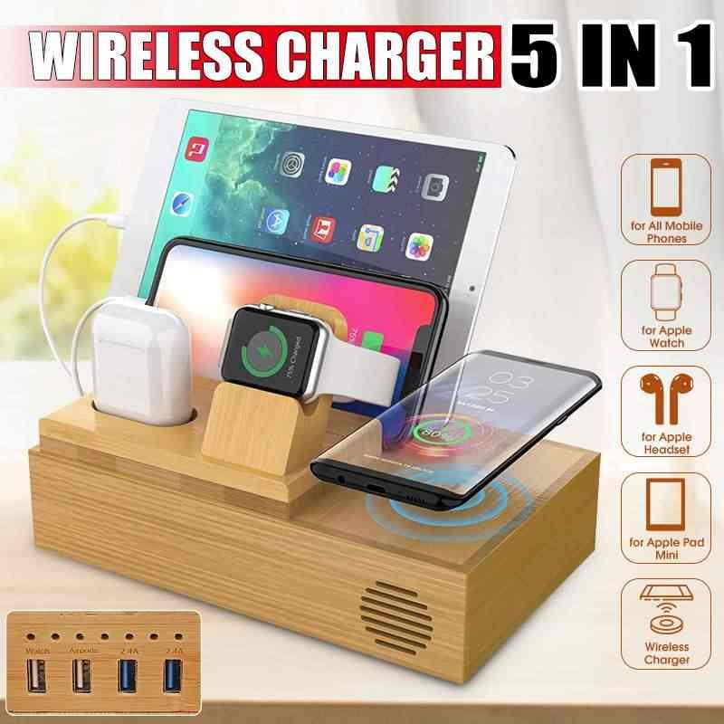 5 in 1 Telefon Drahtlose Ladegerät Stehen für iPhone für AirPod für Apple Uhr Vier USB Charge Dock Station Ladegerät für iPad Mini