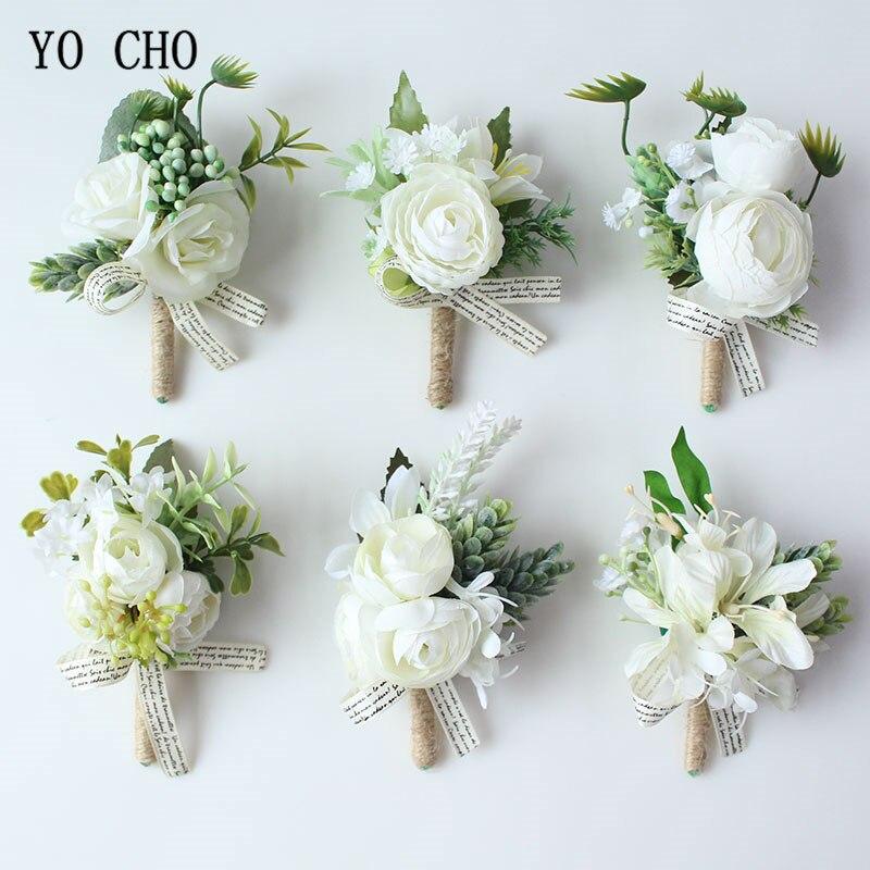 Yo cho flor artificial corsagens de casamento e boutonnieres branco flor de seda corsage pulseira para dama de honra acessórios de casamento flores