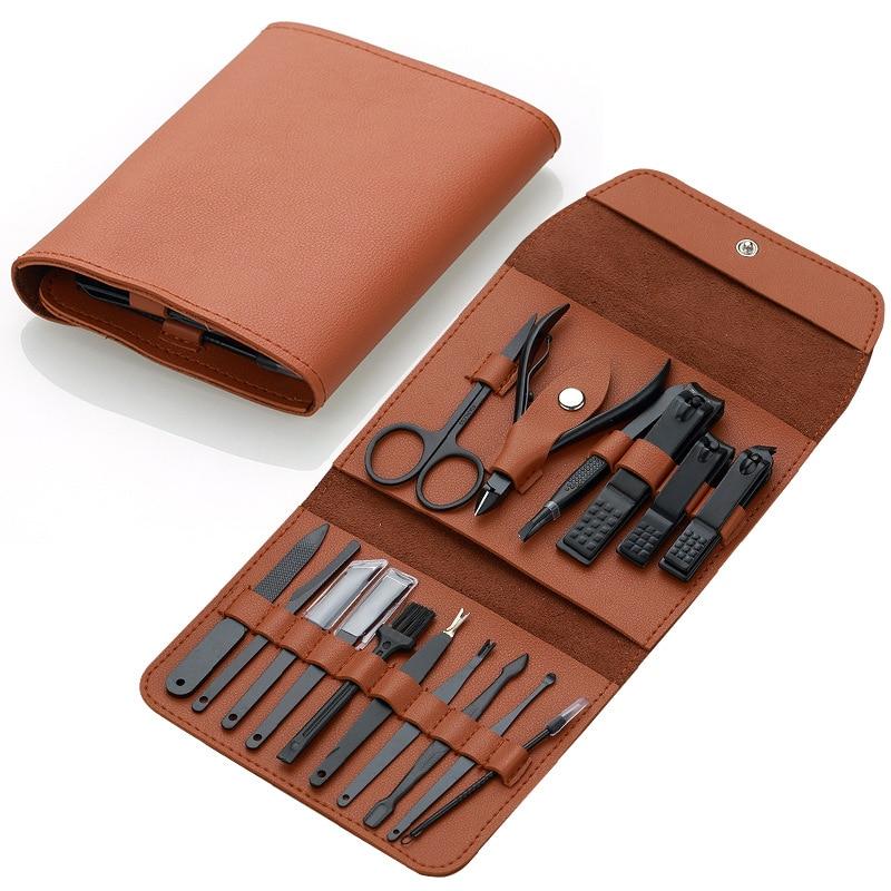 2020 New Design 16 pcs Manicure Set kit Pedicure Scissor Tweezer Knife Utility Nail Clipper Stainless steel Nail Care Tool Sets|Sets & Kits|   - AliExpress