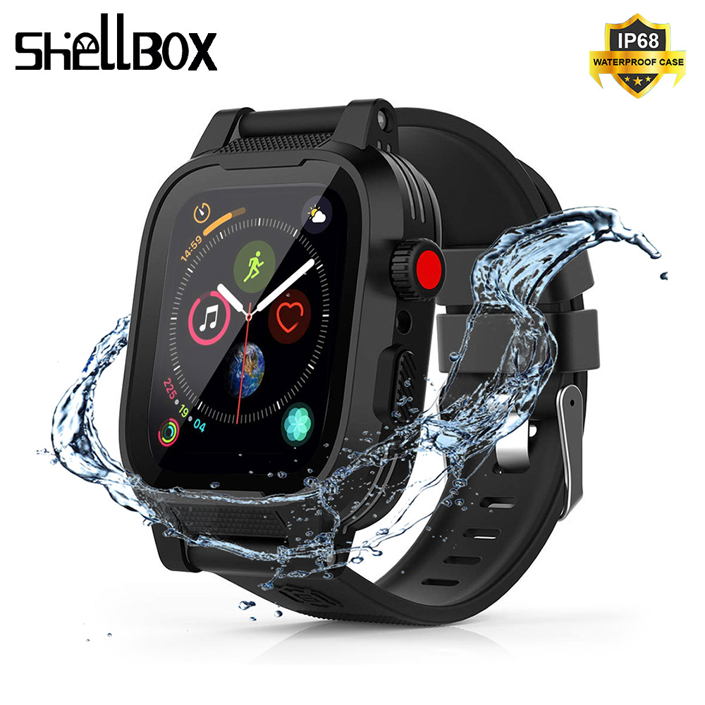 SHELLBOX Waterproof Case For Apple Watch Band 4 IWatch Bands 44mm Silicone Strap 40mm Bracelet Smart Watch Accessories Strap