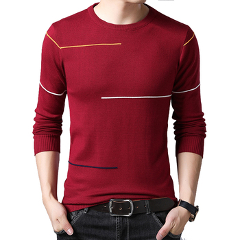 BROWON Brand-sweater Male Pullover Sweater Men Knitted Sweater Casual Men's Sweater O-Neck Striped Pullover Men M-3XL фото