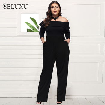 SELUXU New Plus Size Jumpsuits For Women 2019 Summer Women Rompers  Combination Female Sexy Loose Print Full Length Black -D