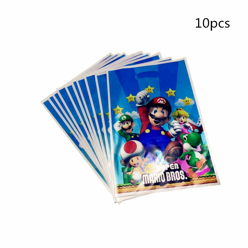10PCS/Pack Super Mario Bro Theme Kids Favors Birthday Party Plastic Gifts Cookies Bags Baby Shower Loot Bag Decoration Supplies