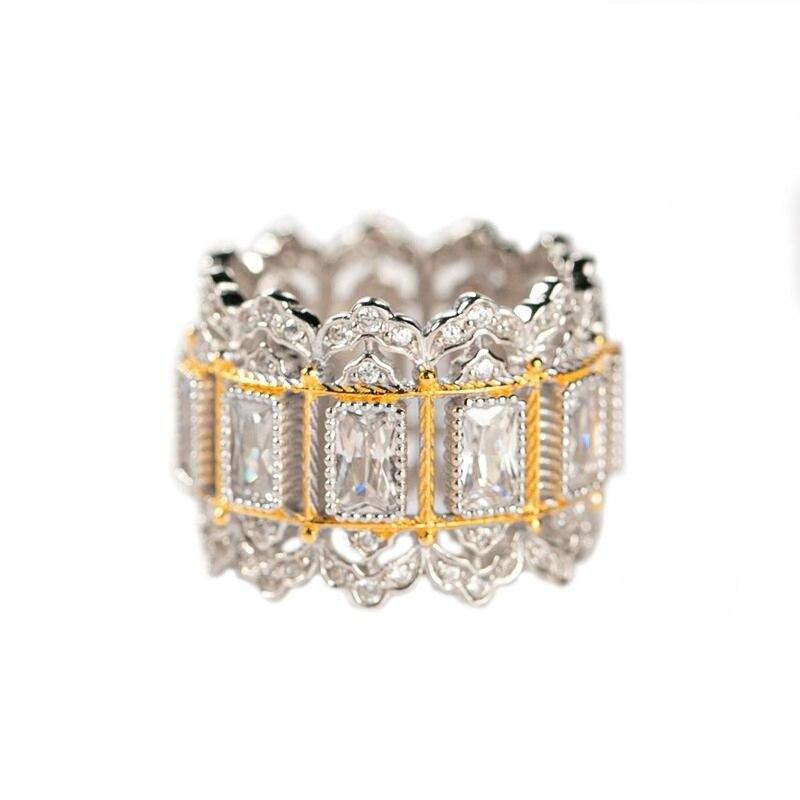 CMajor bijoux en argent Sterling deux tons lustre argent Vintage Palace luxe blanc Rectangle cubique Zircon anneaux pour les femmes
