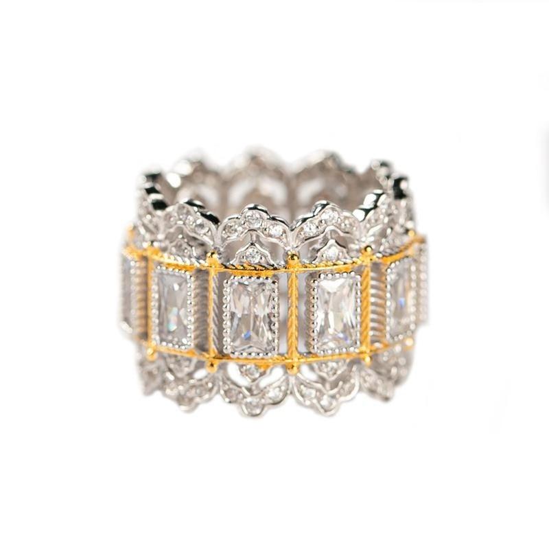 CMajor bijoux en argent Sterling deux tons lustre argent Vintage palais de luxe blanc Rectangle cubique Zircon anneaux pour les femmes