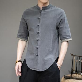 Camisas de cuello de manga corta de lino de algodón de verano...