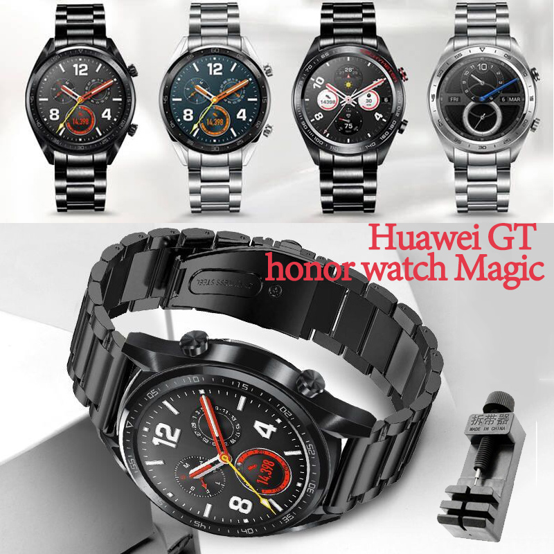 For Huawei Gt Honor Watch Magic Strap Band 22mm Sport Stainless Steel Strap ,Samsung Gear S3 22mm Band