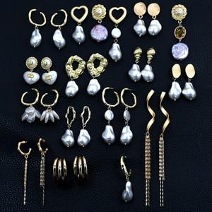 Женские асимметричные серьги-гвоздики из сплава с узором, серьги-гвоздики с барочным жемчугом кисточка золотого цвета