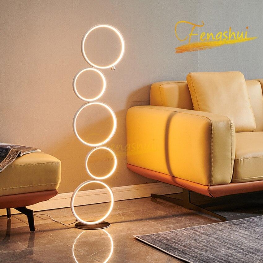 Modern LED Floor Lamp Lighting Nordic Art Deco Ring Floor Lights Touch Switch Standing Lamp for Living Room Bedroom Luminarie