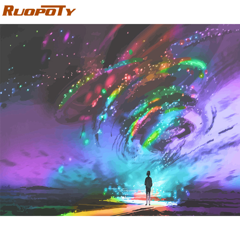 RUOPOTY Frame DIY Painting By Numbers Abstract Light Landscape Modern Paint By Numbers Wall Art Picture RUOPOTY Frame DIY Painting By Numbers Abstract Light Landscape Modern Paint By Numbers Wall Art Picture Coloring By Numbers Arts