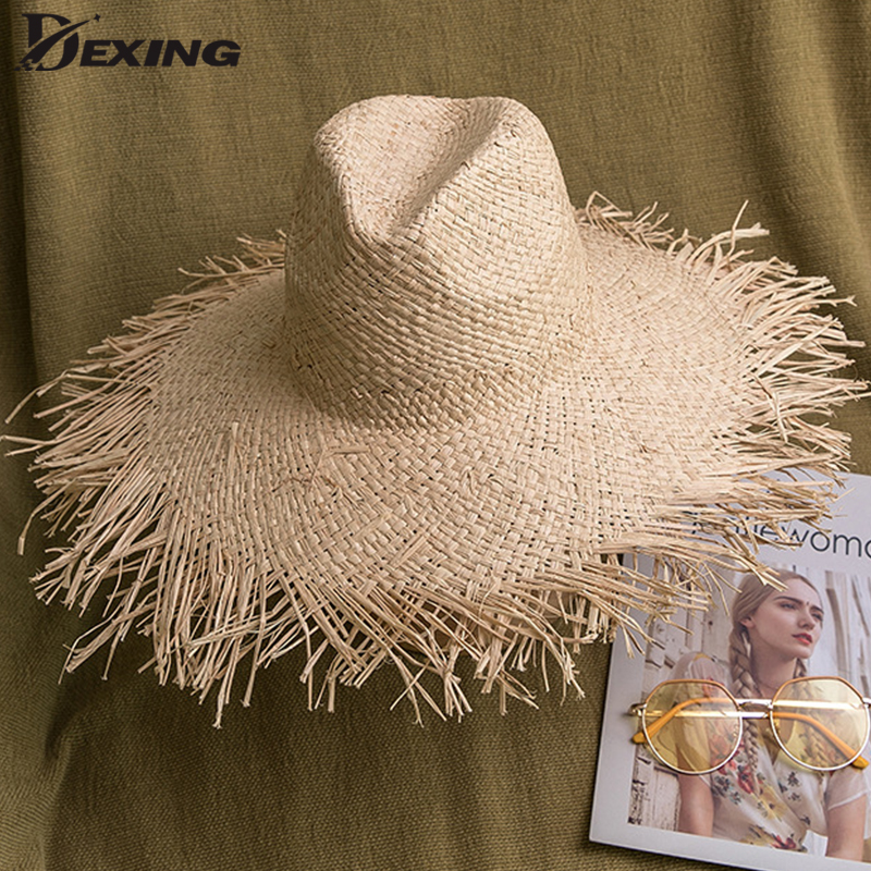 Handmade Weave Vintage Raffia Straw Hat Summer Sun Visor Hats For Women Lady Foldable Fashion  Cap Wide Brim Panama Beach Hat