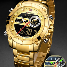 Male Clock Watches Dual-Display Quartz-Steel Gold Military Waterproof Sport Naviforce Men