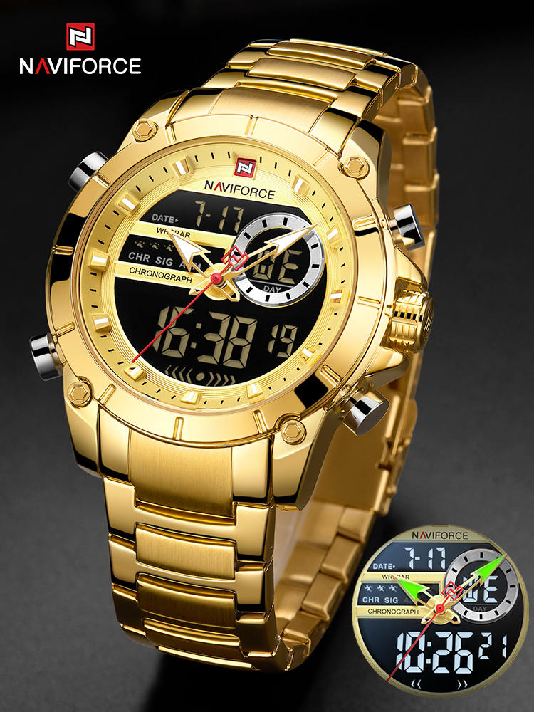 Clock Watches Dual-Display Quartz-Steel Gold Military Male Waterproof Sport Naviforce Men