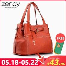 Bolso grande de hombro para mujer elegante de cuero genuino suave Zency 100%, bolso bandolera de moda naranja con cierre