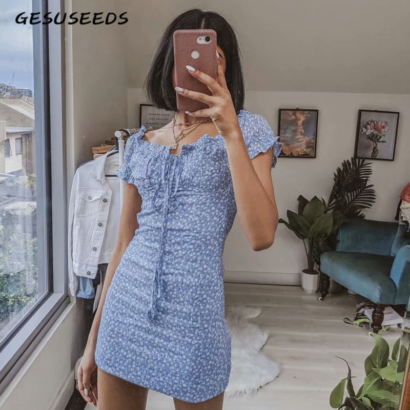 2020 Sexy Casual Ladies Dresses Beach Blue Summer Dresses Casual Vintage Mini Dress Boho Floral Dress Korean