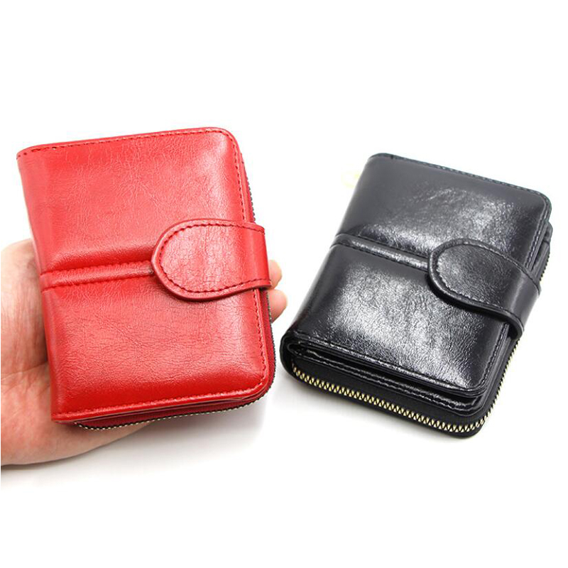 Women Short Wallets PU Leather Female Buckle Purses Multi Card Holder Wallet Fashion Woman Small Zipper Wallet Photos Coin Purse