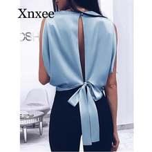 Женская блузка без рукавов с большим бантом и открытой спиной