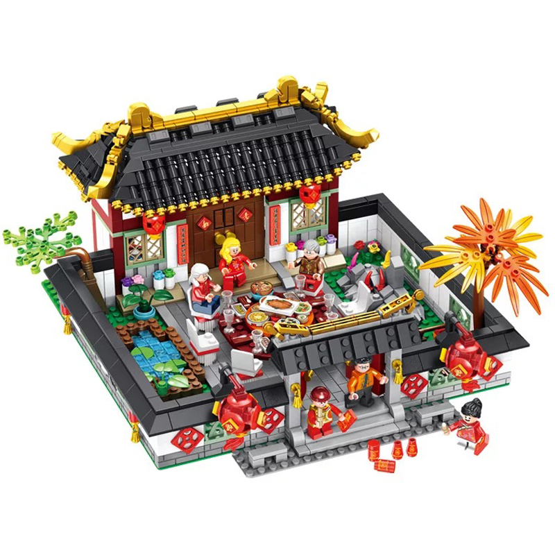 2019 Chinese Style Series Spring Festival New Year's Eve Family Dinner Model Legoinglys Building Kits Blocks Kid New Year Toys
