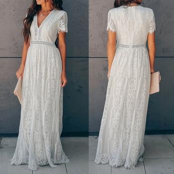цена на 2020 Summer Autumn Women Maxi Tunic V-neck Party Dress Short Sleeve White Lace Long Beach Dress Vocation Holiday Elegant Clothes