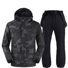 Camuflagem jaquetas e calças de esqui feminino terno snowboard kits muito quente à prova de vento à prova dwaterproof água inverno ao ar livre roupas