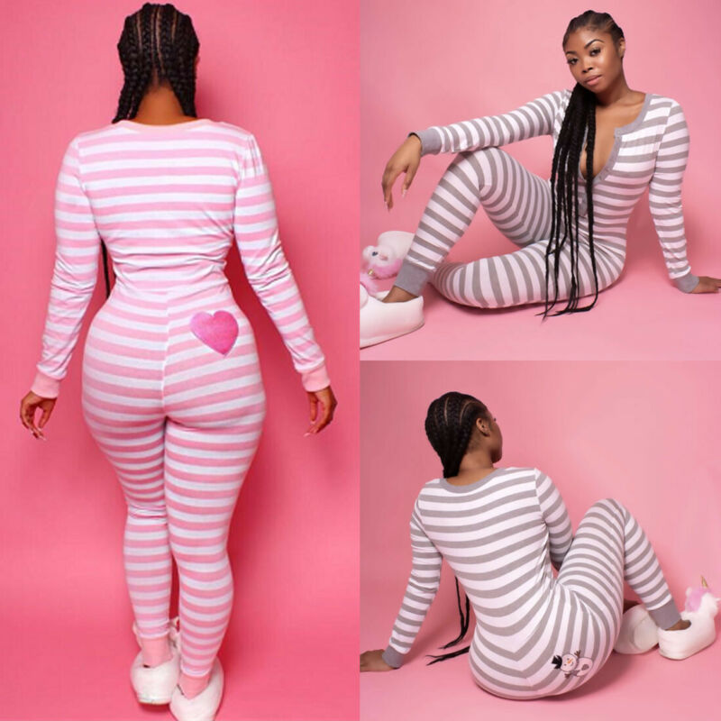 Goocheer Women Long Sleeve Pink Striped Print Long Sleeve Bodysuit Slim Fit Top Autumn Leotard Jumpsuit Bodycon Trousers