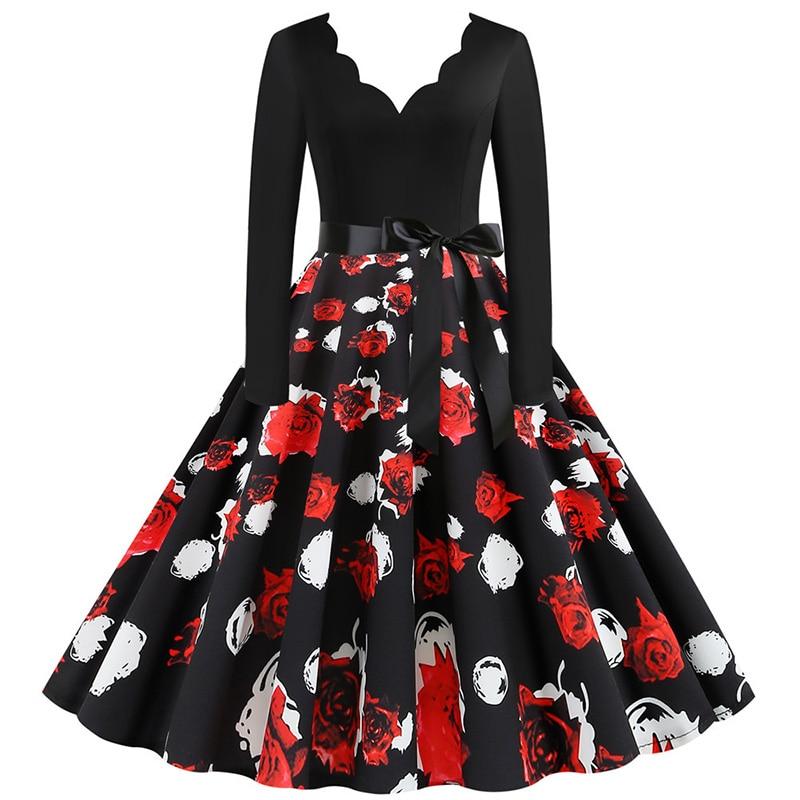 Women Long Sleeve Winter Vintage Dresses Sexy Black Music Note Print V-neck Rockabilly Pin up Party Dress Vestidos Plus size 661