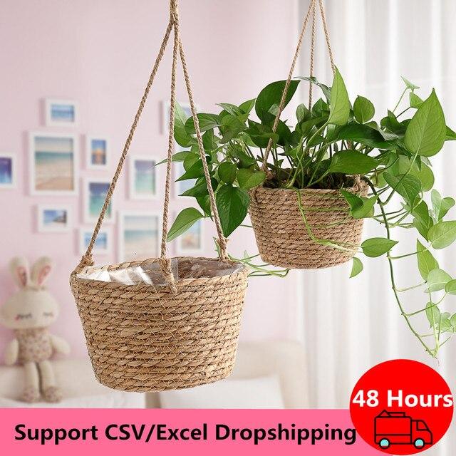 Cesto portaoggetti per piante da giardino corda di iuta appeso fioriera intrecciata per interni allaperto portavaso macramè appendini per piante decorazioni per la casa