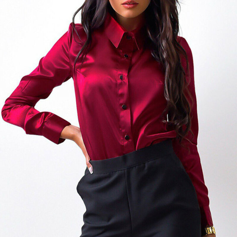 Fashion Elegant Women Solid Sexy Satin Shirt Long Sleeve Top Button Office Blouse Autumn Tops