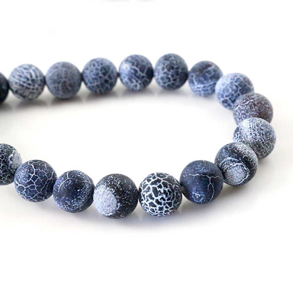 4mm 6mm 8mm 10mm Natural Volcanic Stone Navy white Stone Round beads For jewelry making Wholesale and Retail