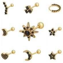 1 Paar 925 Sterling Zilver Zwart Zirkoon Stud Oorbellen Voor Vrouwen Piercing Oorbellen 2020 Eenvoudige Goud Rose Goud Kraakbeen Oorbellen