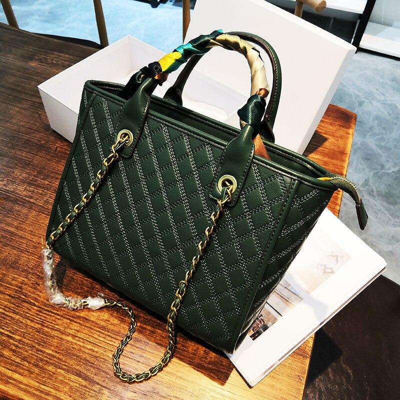 Новинка 2020, модная сумка с ромбовидной цепочкой, сумка-тоут, женская сумка на одно плечо, вместительная сумка-мессенджер на одно плечо, ручны...