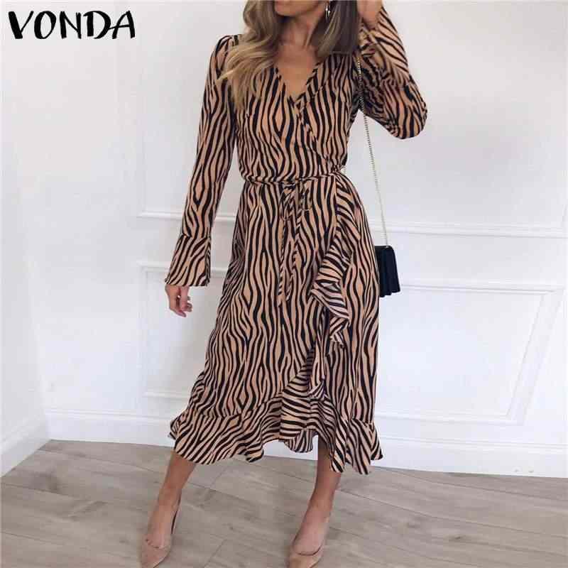 Vonda vindag vestido feminino com decote em v manga longa alargamento maxi vestido 2020 verão listrado impresso vestido casual solto plus size