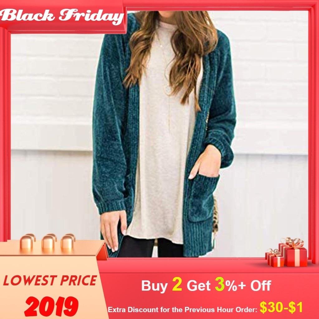 Sweater Women Winter Long Sleeve Open Front Sweater Pockets Soft Velvet Chenille Cardigans Pull Femme Nouveaute 2019
