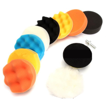 Disco de abrillantado con esponja de encerar para coche, almohadilla de pulido de rueda de lana autoadhesiva, con adaptador de taladro pulidor de 3 pulgadas, por set de 11 uds.