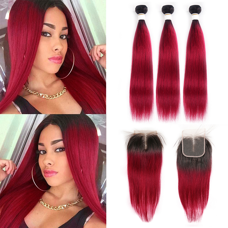 1B 99J/Burgundy Human Hair Bundles With Closure KEMY HAIR Brazilian Straight Ombre Hair Weave Bundles With Closure 4x4 Non-Remy