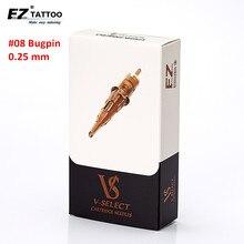 EZ v seleziona aghi per tatuaggio a cartuccia per tatuaggio #08 0.25mm #06 0.18mm Round Liner Micro permanente Makup Tattoo accessories20 pz/scatola