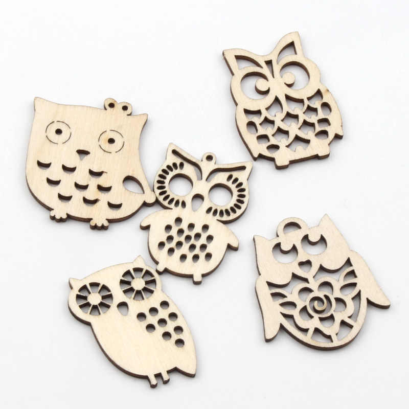 DIY Retro Wooden Buttons feather shape Sewing Scrapbooking wood buttons 39mm