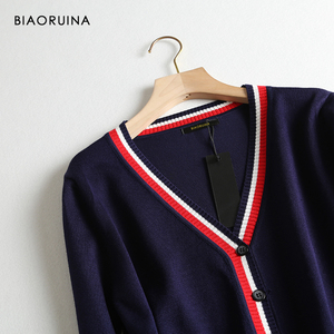 Image 4 - BIAORUINA Womens Preppy Style Hit Color V neck Knitted Cardigans Female Single Breasted Fashion Loose Korean Style Sweater