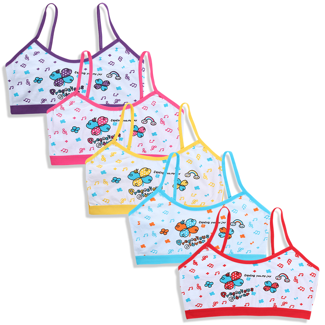 5pc/Lot Underwear Cotton Colorful Baby Girl Kids Children Cartoon 6-14Y Hipster Sport Teens Teenage Young Camisole Vest