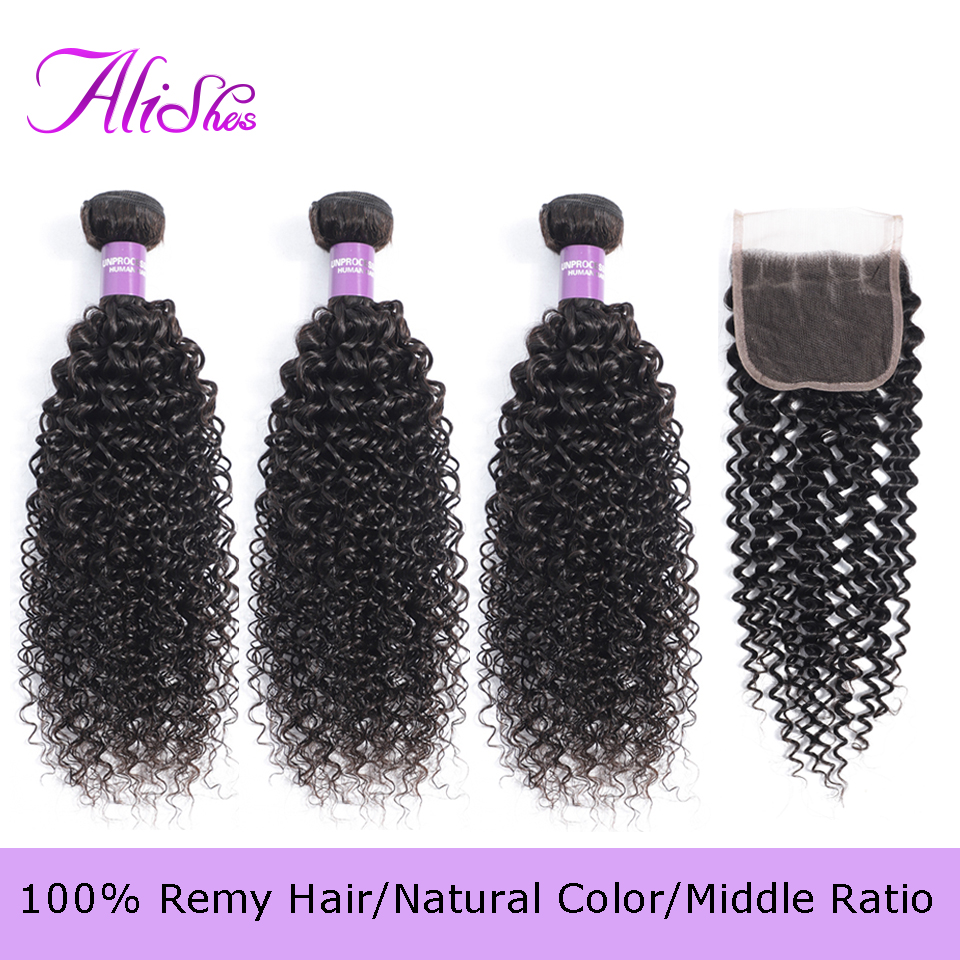 Alishes Malaysian Curly Hair 3 Bundles With Lace Closure Middle/Free Part Human Hair Weave Bundles With Closure 4PCS Remy Hair