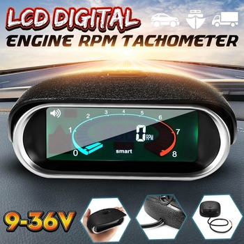 Car Universal 50-9999RPM Tachometer LCD Digital Display Engine Tachometer Boat Truck LCD Screen RPM Meter
