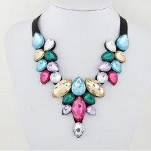 Collier ras du cou avec pendentif en cristal strass pour femmes, multicolore, épais, élégant, bijoux