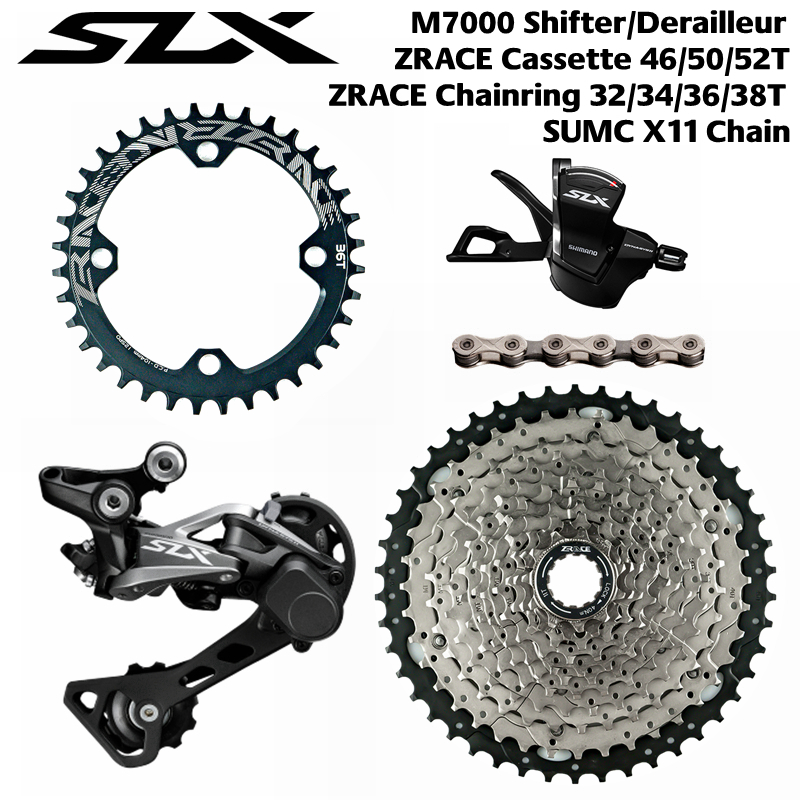 Shimano SLX SL-M7000-11-R + RD-M7000-11-GS + ZRACE Cassette + SUMC Chains + ZRACE BCD104 Chainrings. 1x11 Speed  5kit Groupset