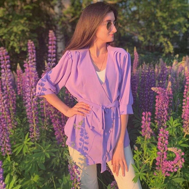 Solto de Tecido Gola em v da Coréia Chique para Escritório Hzirip Blazer Roxo Camiseta Feminina Simples Verão 2020