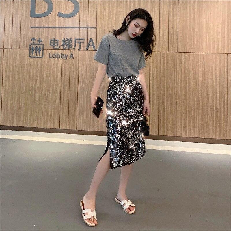 Net Price Photo Shoot Price Control 29.9/39.9 Korean-style Short-sleeved Round Collar T-shirt + High-waisted Sequin Slit Skirt