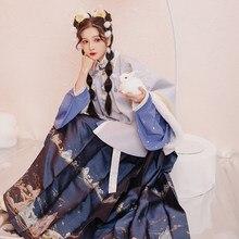 Disfraz de princesa tradicional de la antigua diosa Han para mujer, vestido Hanfu de estilo chino, bordado Floral, conjuntos de 3 piezas, Otoño e Invierno