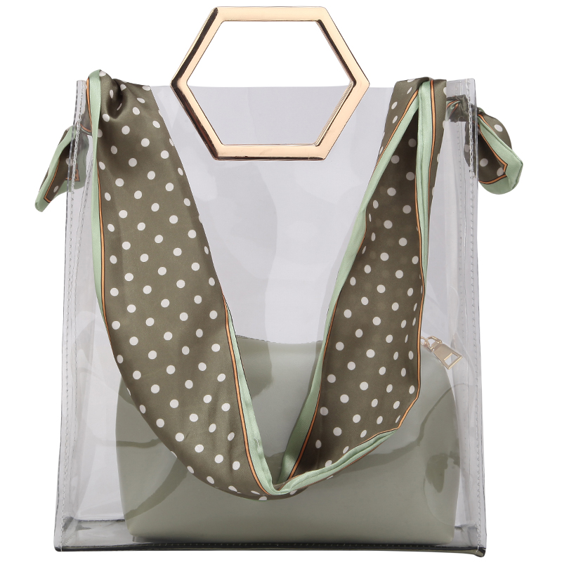 Transparent  Bag Summer Female Tote Bags Jelly Bag  PVC Women Designer Bags Handbag Ribbon Shoulder Messenger Bag 2 Pcs Bag Set