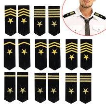 1 пара наплечных щитов значки Профессиональный пилот моряк Униформа эполеты Золотая вышитая звезда эполеты DIY Одежда эполеты